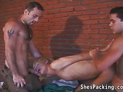 Sexy shemale pleasures 2 horny men