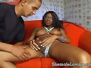 Busty ebony gets her asshole drilled