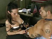Hottie shemale Foxy is domination a nasty guy