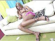 hot blonde shemale sofa sex