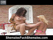 Penelope&Camille shemale fucks shemale video