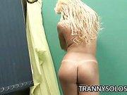 Latina shemale teasing her hard cock