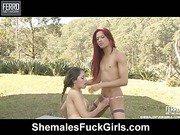 Rafaela&Fernanda shemale and pussygirl in action