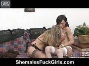 Isabela&Sandra tranny fucks lady video