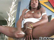 black shemale doll is rubbing her massive cock