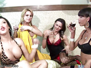 TS girlfriends anal fucking while hottieing wine in foursome