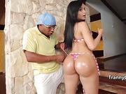 Hot latina tranny nailed black cock
