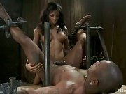 ebony shemale pleasing her submissive slave