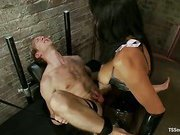 tranny in fishnets wild fucking her slave