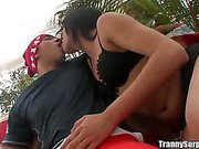 Real brazilian tranny picked up in traffic for anal fuck and cumfaced tranny juice