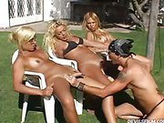 lucky gardener and three shemales in outdoor oral party 8