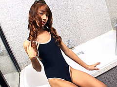 Petite teen ladyboy solo masturbation in a bathroom