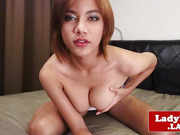 Solo asian tgirl beauty jerksoff jizzload