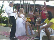 blonde shemale bride outdoors fucks her man 1