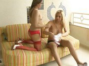 horny pussy slammed by a blonde shemale