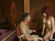 big cock redhead shemale on her slave 3