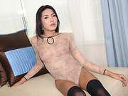 Asian ladyboy Nann bares her body in erotica fapping session