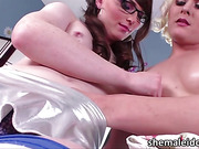 Slim Tgirl Natalie gets dominated in anal by ladyboy Isabella