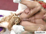 perfect tit blonde tranny cocking a guy