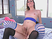 Busty shemale fucked another sexy tgirl in her asshole