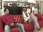 shemale on white stockings in hardcore action