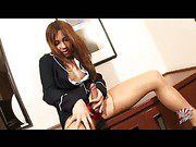 Japanese flight attendant shemale plays her dick