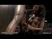 Bound black guy in steel restraints fucked by huge dicked busty black tranny