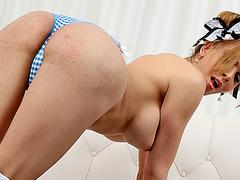 Tempting transgirl Jenna Tales stuffs big dildo into her ass