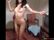 Slender Asian tranny strips down and sucks big cock in POV