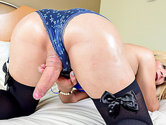 Longhaired blonde tgirl Patricia H sucks and fucks stud cock