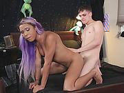 Naughty TS Mara Nova and nasty man anal fucking on the bed