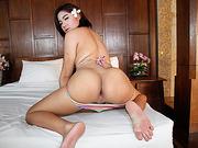 Beautiful Asian Tranny Lisa X performs solo masturbation