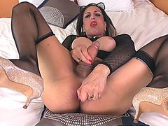 Huge boobs shemale Fernanda Khelher dildoing her asshole