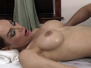 Latina TS girl Sunday Valentina turns on when hot masseur Roman Todd touches her ass