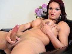 Shemale Lorraine Balde Strokes Her Big Cock