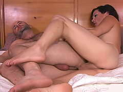 Hot tranny Gina Hart fucks dudes in asshole on the bed