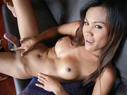 Asian Tranny Rin Having Fun With A Dildo