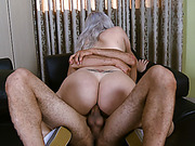 Busty tranny ass banged while jerking until she cums