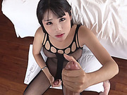 Ladyboy in crotchless bodysuit blowjobs and jerks off