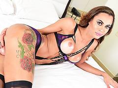 Brazilian Tgirls Keylla and Lara in dual masturbation and anal scene