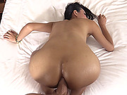Sexy ladyboy Peonie analyzed bareback by big hard cock