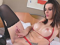 Huge boobs brunette shemale masturbates her hard cock