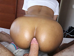 Teen ladyboy gives a pov blowjob and rides on his hard cock