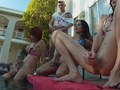 Tranny Hotties Enjoy Having A Pool Orgy
