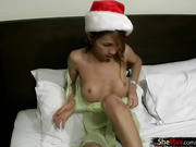 Bigtitted cock girl discovers Xmas sex toy and fucks her ass