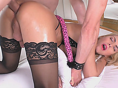 Brazilian tranny and nasty man pounding each other's asses