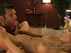 Busty tranny anal bangs two guys