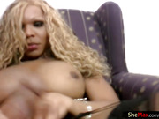 Big breasted black transsexual strokes her dick and mine too
