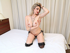 Beautiful stylish trans babe Nanda loves anal sex and cock sucking