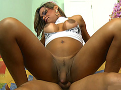 Huge boobs tgirl Melainny Vilhena gets her ass fucked